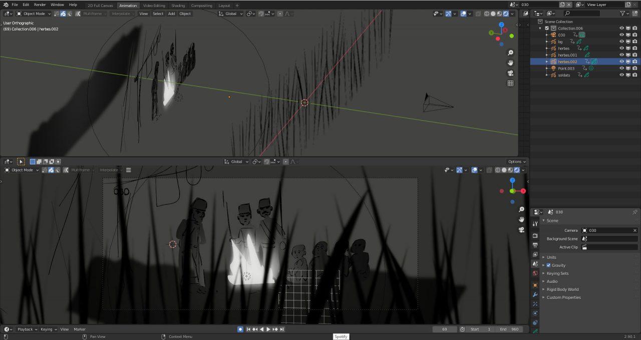 Animation Director Alexandre Heboyan shares part of his 2D/3d hybrid workflow in Blender.