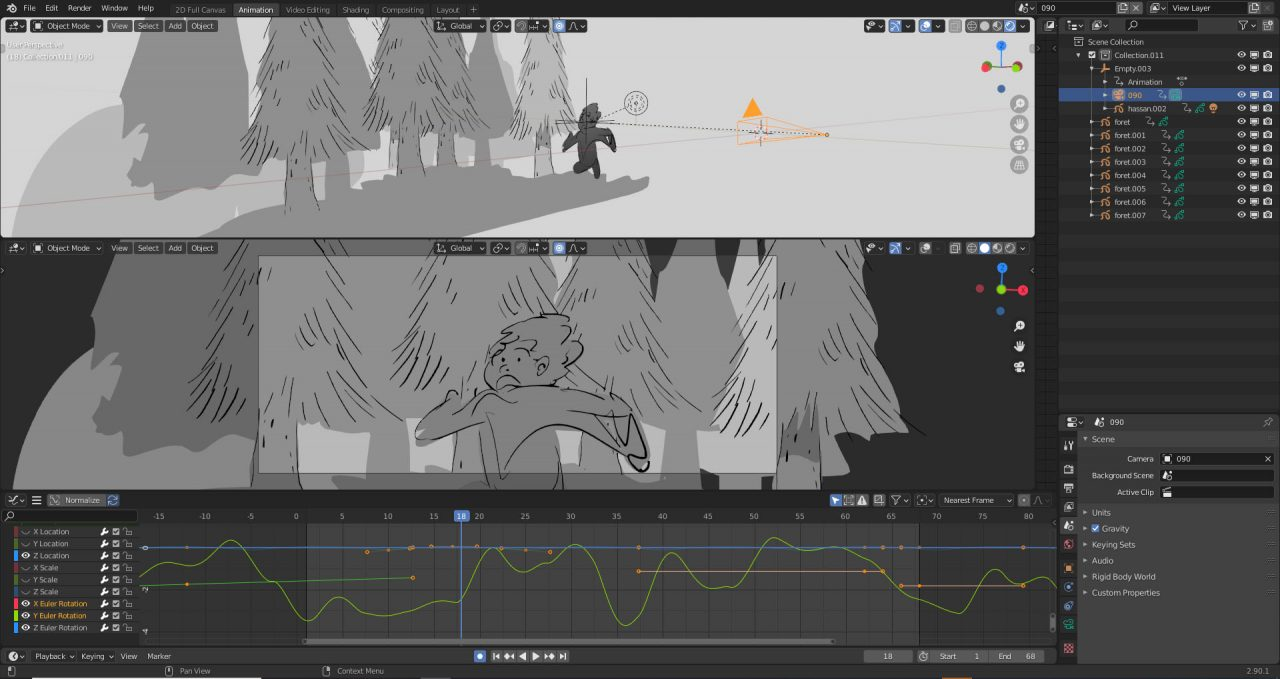Animation Director Alexandre Heboyan explores a handheld camera effect with noise in Blender.